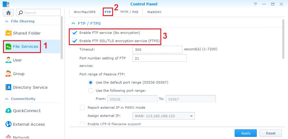 Sử dụng NAS Synology như một FTP Server | giaiphapnas com