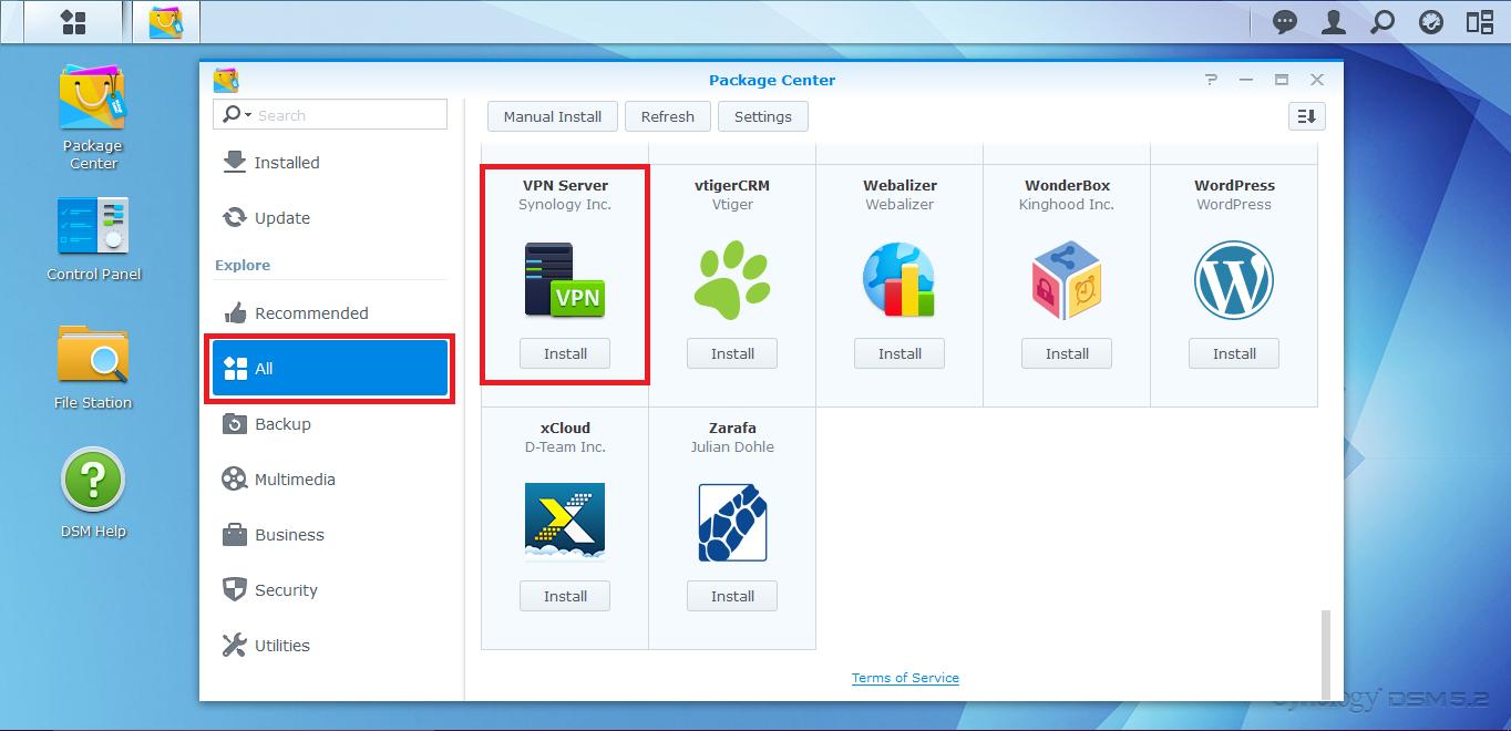 MNS hướng dẫn cài đặt VPN trên NAS synology | giaiphapnas com