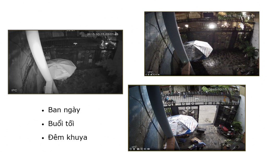Hình ảnh camera Panasonic thu được tại 3 thời điểm riêng biệt