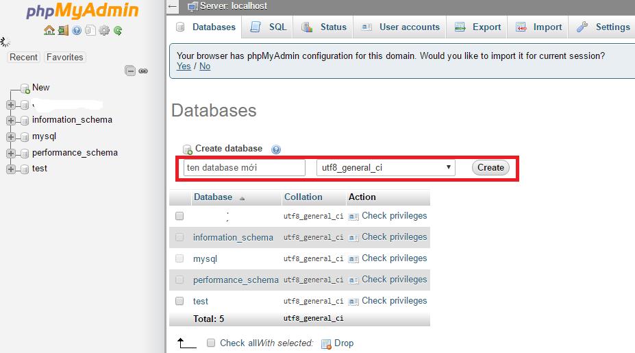 tao database trong phpmyadmin