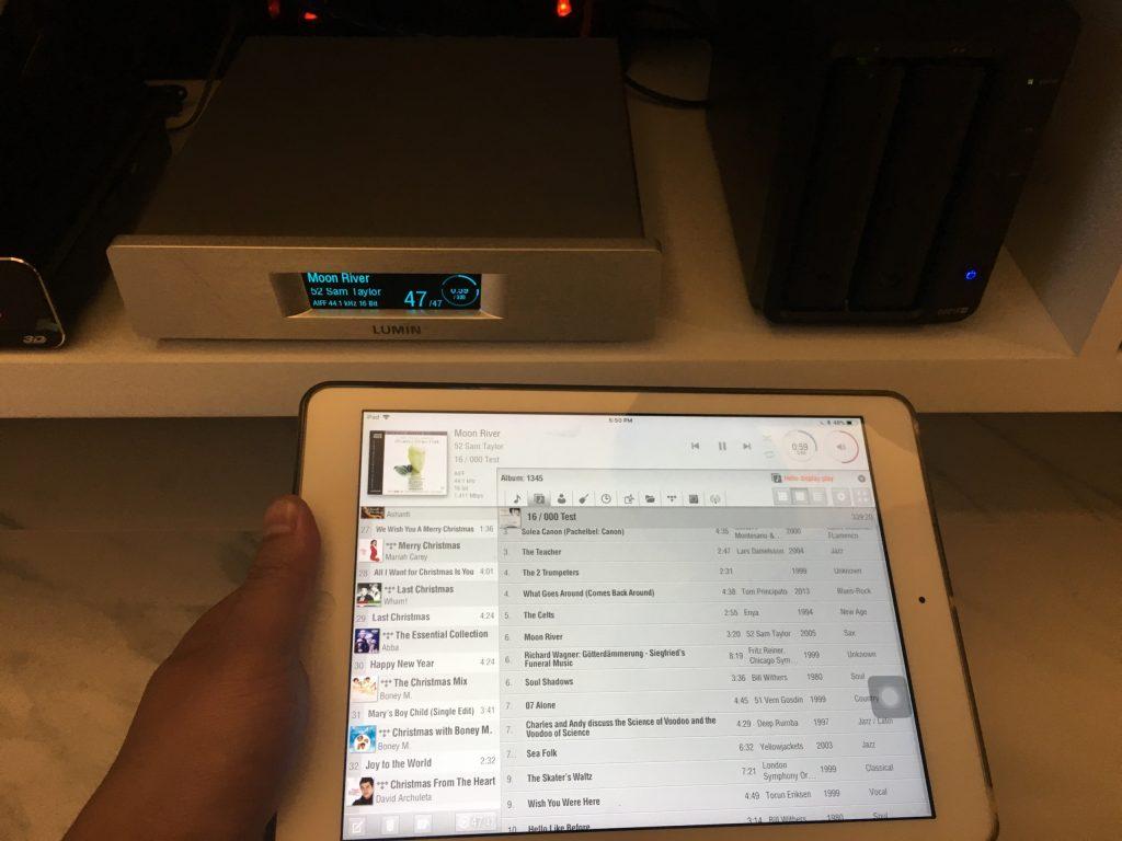 Dễ dàng phát nhạc từ NAS qua Lumin bằng cách remote trực tiếp từ Ipad, điện thoại.