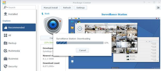 Định dang ext4 phù hợp với package Surveillance Station